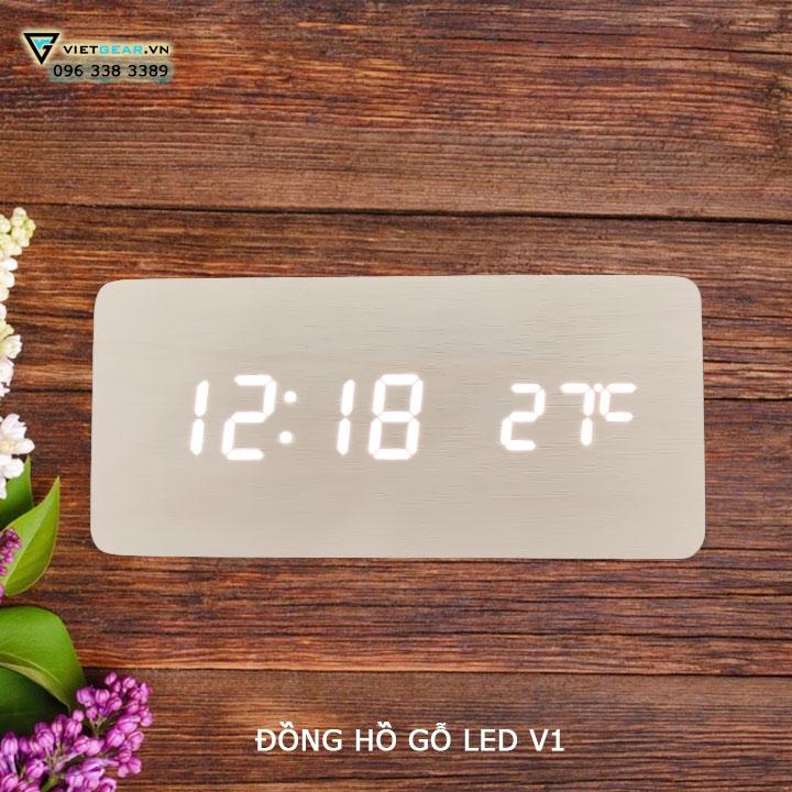 đồng hồ gỗ led