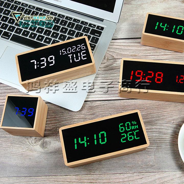 Đồng hồ gỗ thông V1, led trắng hiển thị giờ và nhiệt độ