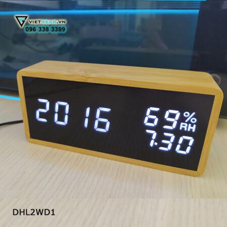 Đồng hồ gỗ thông V2, led trắng hiển thị giờ, nhiệt độ độ ẩm