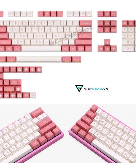 Set keycap SA Maxkey Pink-White 130 nút