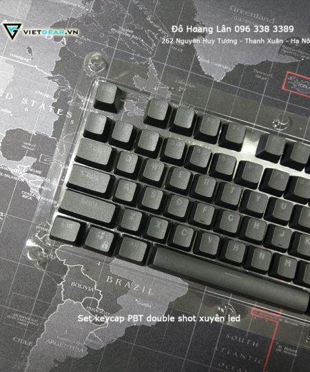 Bộ keycap PBT double shot xuyên led đen