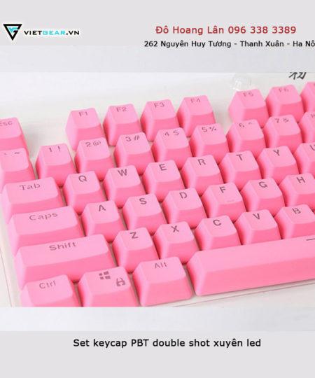 Bộ keycap PBT double shot xuyên led hồng