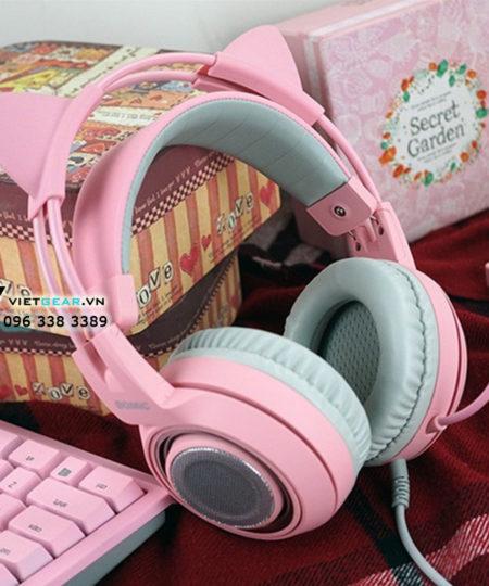 Tai nghe tai mèo Somic G951 Pink Edition, âm thanh giả lập 7.1 cao cấp