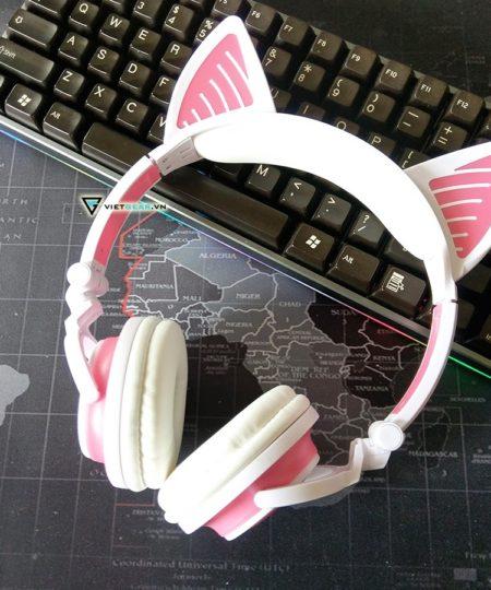 Tai nghe tai mèo Bluetooth Sunshine siêu cute màu trắng hồng