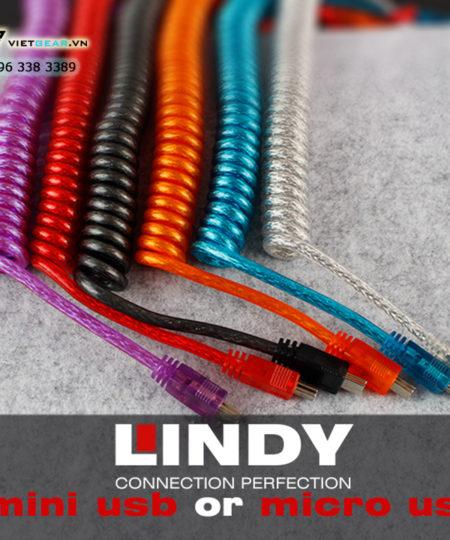 Cáp mini USB chính hãng Lindy cao cấp, cáp usb xoắn