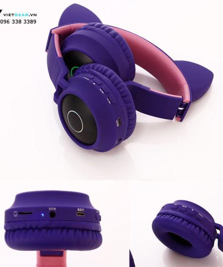 Tai nghe tai mèo BT028C Bluetooth, led RGB, bass khỏe